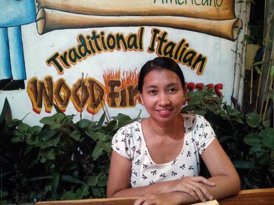 Vesuvio's Pizzeria : Shes happy to have some pizza!