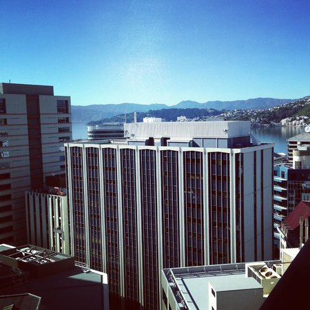 Bolton Hotel Wellington: view from 18th floor suite to Oriental Bay across Wellington Harbour