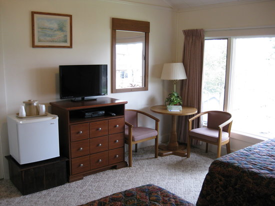 Hickory Grove Motor Inn: Flat Screen TV, Sitting Area and Refrigerator
