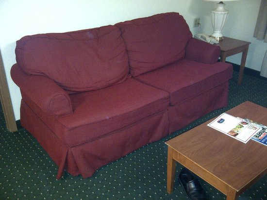 TownePlace Suites Indianapolis Park 100: this is one tired sofa