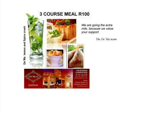 De'Ma. Restaurant: 3 course meal for R100
