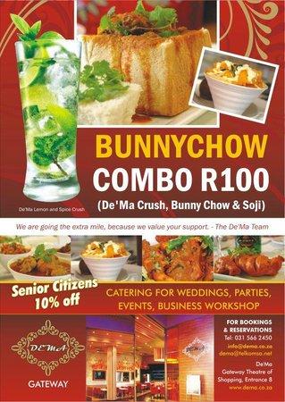 De'Ma. Restaurant: bunny chow combo for R100