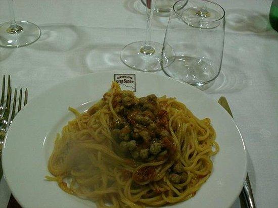 Isola del Gran Sasso d'Italia, อิตาลี: Spaghetti alla chitarra con polpettine