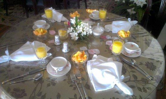 River Lily Inn Bed & Breakfast: Breakfast table setting