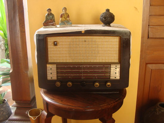 Les Hibiscus: An old radio on display