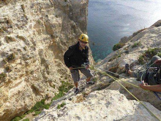 MC Adventure: Abseiling down Motorcycle Slab at Xaqqa Valley, Malta