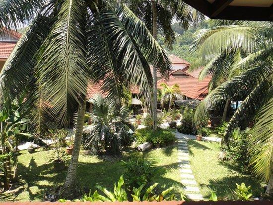 Le Duc de Praslin: Aussicht vom Balkon auf den Hotelgarten