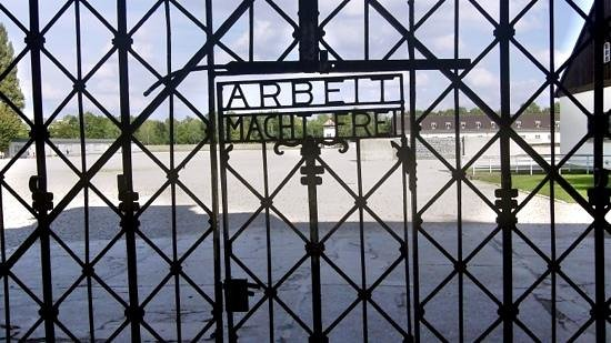 "City Sightseeing Munich: ""Work makes you free"". The lie....  Dachau."
