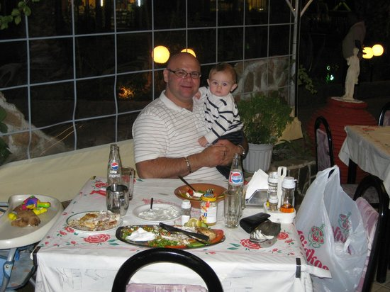 My son and I, fine dining at Medousa Restaurant