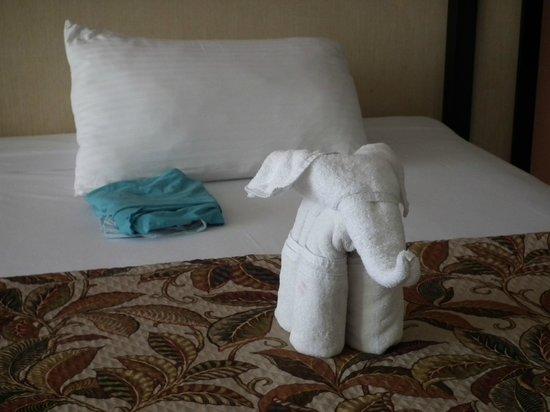 Sandos Playacar Beach Resort: Letto rifatto e simpatico elefantino con asciugamano