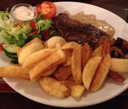 The Silver Fountain: Welsh black steak and handcut chips.