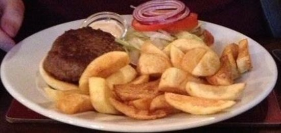 The Silver Fountain: Welsh black steak burger and handcut chips.