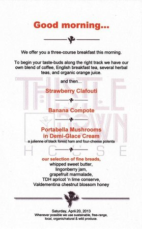 ThistleDown House: Breakfast Menu Example