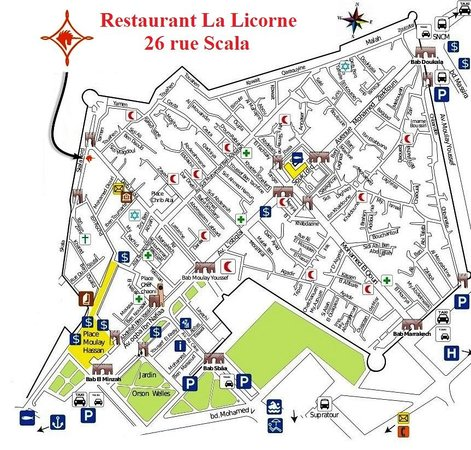La Licorne : Plan Essaouira - Situation restaurant