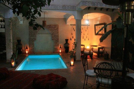 Riad l'Oiseau du Paradis: patio et piscine