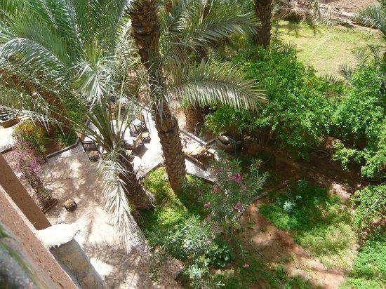 Dar Nekhla : vue du jardin de la terrasse