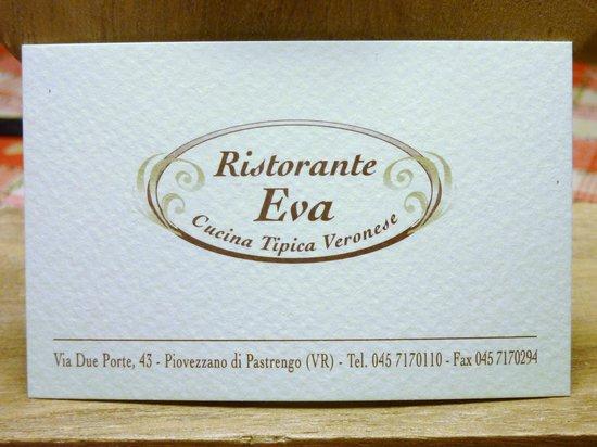Ristorante Eva : Biglietto da visita del locale.