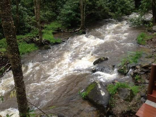 Cherokee Mountain Cabins: The babbling brook turned raging river after two days of rain!