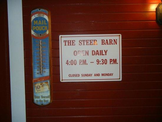 Steer Barn: Hours