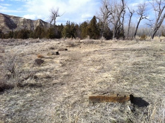 Elkhorn Ranch Site: Foundation blocks of TR's ranch house.