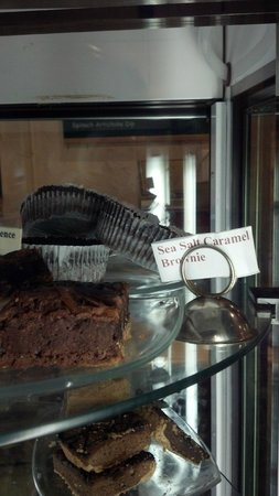 Caffe Chocolat : Sea Salt Caramel Brownie on display