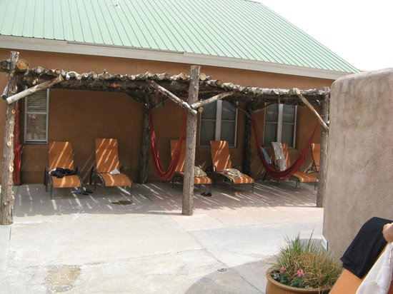 Ojo Caliente Mineral Springs Spa : Shade lounge chair area with hammocks