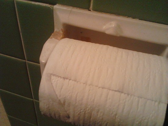Morel s Inn On False River: Looks liking chewing gum on the toilet paper holder.
