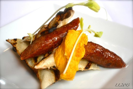Laurent's Modern Cuisine: Grilled Naan & Lamb Sausage with Carrot Hummus