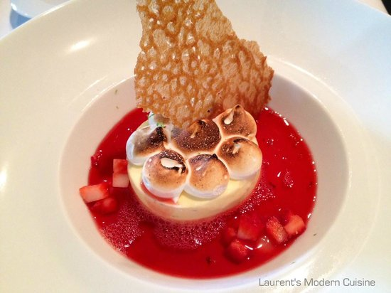 Laurent's Modern Cuisine: Lime Parfait & Meringue with Strawberry Consommé
