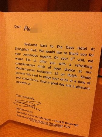 Days Hotel Singapore At Zhongshan Park: The welcome card from the hotel