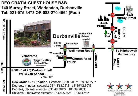 Deo Gratia Guesthouse Durbanville: Map to Deo Gratia, Durbanville