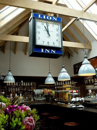 Lion Inn: The clock, bar area