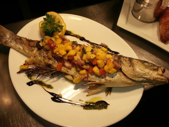 The Eldon Bar, Pizzeria & Grill: Char Grilled Sea Bass with Tomato and Mango Salsa