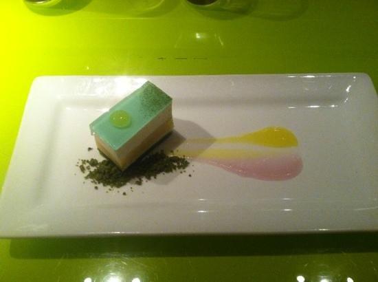 Morimoto: Lemon tart with green tea crust.