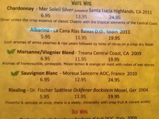 Apres Wine Company: sample of their wine list: I will recommend the Marsanne wine