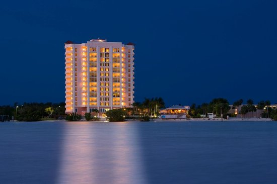 Lovers Key Resort: Night view of the sparkling bay waters.