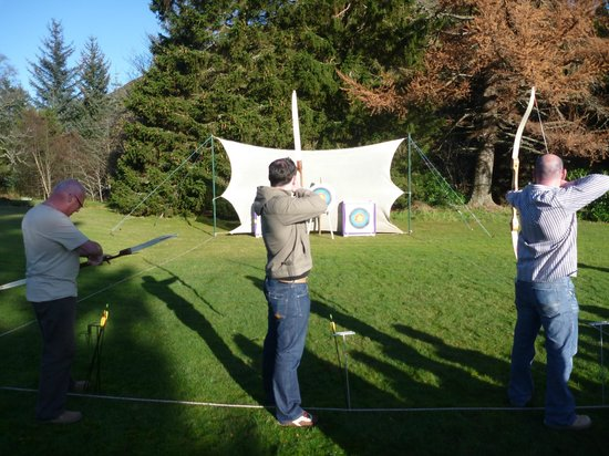 Dalmunzie Castle: Archery in the grounds