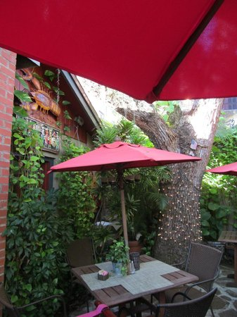 The back patio offers beauty with your dining