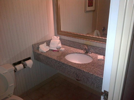 Crowne Plaza Philadelphia West: Small but clean bathroom with great Templespa products