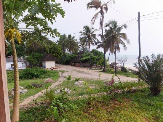 Art Hotel Zanzibar: Blick nach links Richtung Dorf - das kleine weisse Gebäude ist ein Dorfladen
