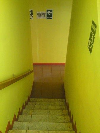 Lake Hostal : escaleras de salida