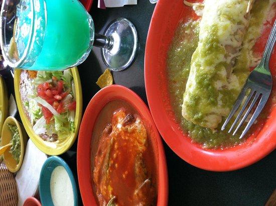 El Parian Mexican Restaurant: Try the blue margaritas and green enchiladas. Yum.