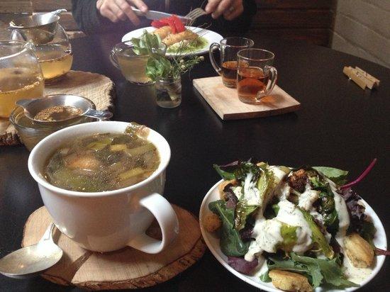 Hillbilly Tea: Yummy soup, salad, tea, and whiskey.