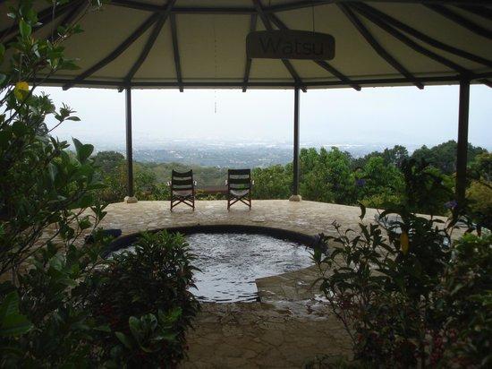 Pura Vida Spa & Yoga Retreat: Watsu pool overlooking the Central Valley