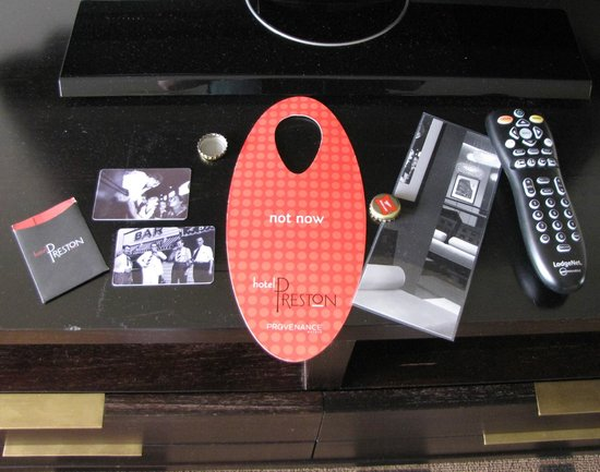 Hotel Preston: Room keys, Now/ Not Now  door hanger, TV List, and Remote