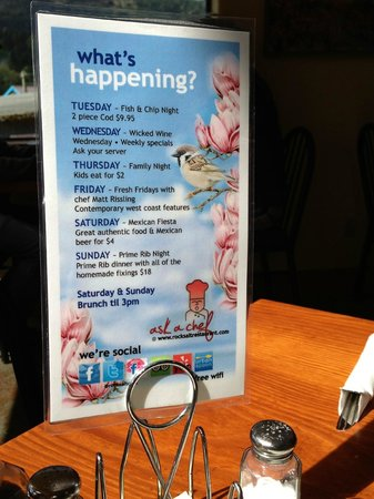 Rock Salt Restaurant & Cafe: Daily Specials!