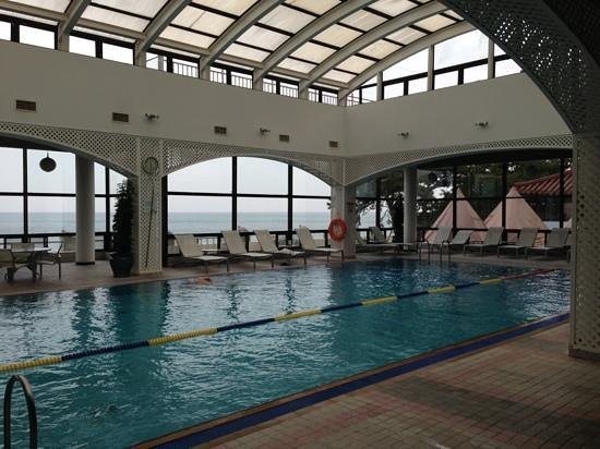 The Westin Chosun Busan: Pool with a view of the ocean and beach; wading pool behind to the right