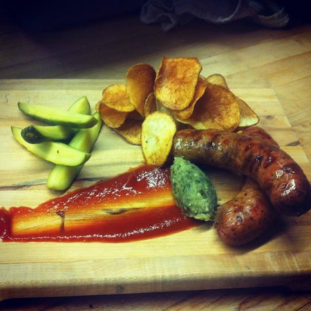 the Sovereign Room: Special Example - Cheeseburger sausages with potato chips and house ketchup, relish and pickles.