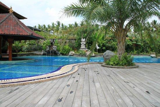Bhuwana Ubud Hotel: Poolområdet med sitt lilla vattenfall