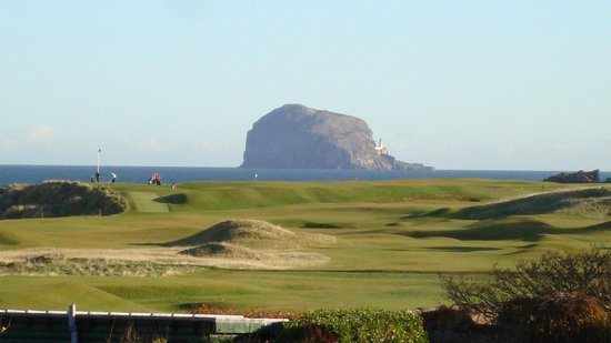 Macdonald Marine Hotel & Spa: North Berwick Golf Course with Bass Rock in the background
